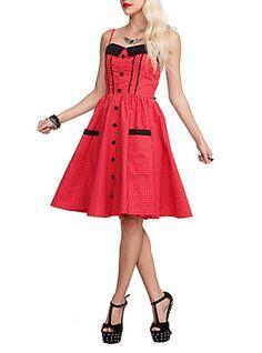 Hell Bunny Abby Polka Dot Flare Dress, RED
