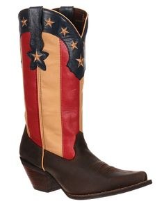 "Durango ""Crush"" Women's 12"" Stars and Stripes Snip Toe Western Boots"