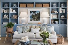 Inspired by the beautiful Oscar de la Renta cushions. Hopewood Interiors coming soon. Designed by the fabulous duo at Veranda House Home Living Room, Living Room Decor, Living Spaces, Dining Room, City Living, Room Kitchen, Living Area, Blue And Cream Living Room, Blue Rooms
