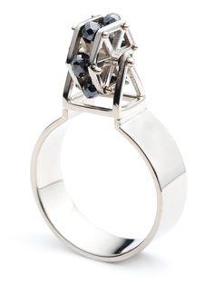 Ferris Wheel Ring 18k palladium white gold, black diamonds