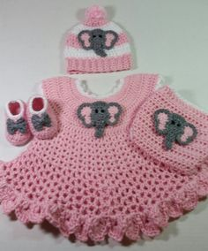 Soft Pink Elephant Dress Baby Shower Gift Set / Crochet Elephant Baby Gift Set / Baby Shower Gift For Girl / Elephant Theme Gift Set Elephant Dress, Crochet Elephant, Elephant Theme, Pink Elephant, Elephant Shower, Crochet Blanket Patterns, Baby Blanket Crochet, Crochet Car, Filet Crochet