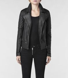 To Receive: AllSaints Walker Leather Biker Jacket Best Leather Jackets, Mein Style, Swagg, Autumn Fashion, Fashion Coat, Casual Outfits, Jackets For Women, Silhouette, Womens Fashion
