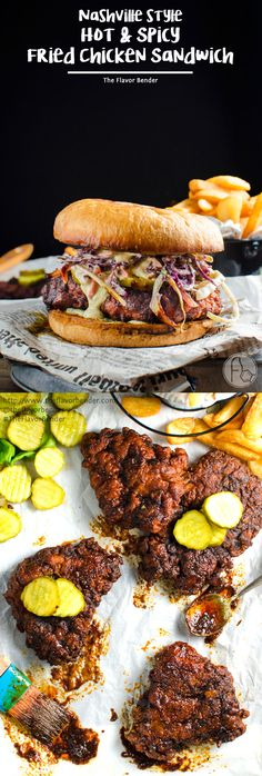 Nashville style Hot and Spicy Fried Chicken Sandwich - Flavored with a sizzling hot sauce and spice blend that penetrate the crispy coating, and then paired with a cool, herby, tangy sour cream ranch dressing. Get the recipe from #TheFlavorBender