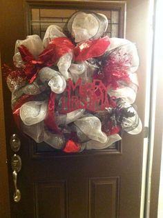 """Christmas Black, Silver, and Red """"Merry Christmas"""" wreath"""