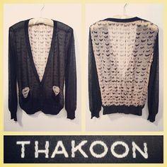 Thakoon 795.00 'eyelashes' print slouchy silk chiffon cardigan sz.M/S #Tribeca @resaleriches price: 250.00 www.resalerichesnyc.com