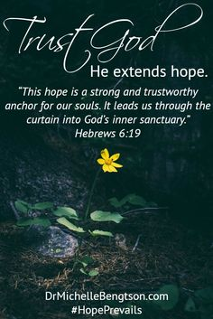 "Trust God. He extends hope. When you trust God, He offers peace, rest and joy. ""This hope is a strong and trustworthy anchor for our souls. It leads us through the curtain into God's inner sanctuary."" Hebrews 6:19. Christian Inspiration. Bible Verse. Scripture."