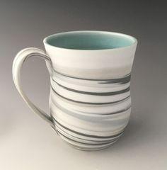 Striped Porcelain Mug -  Handmade pottery mug by Serenity Ceramics - Functional pottery