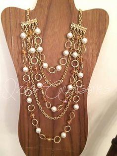 ba0def477fc8 Collar largo chapa de oro varias cadenas y piedra inn  moda ...