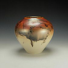 Horse Hair Raku Vessel #10 by Lance Timco (Ceramic Vessel)