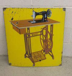 Vintage-Usha-Treadle-Sewing-Machine-Large-Porcelain-Sign-23-x-25