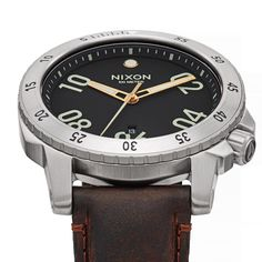 Nixon watch Ranger Leather BLACK / BROWN - 3 HAND QUARTZ - Stainless Steel - Custom built for the long haul.