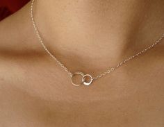 Tiny Linked Circles Necklace in Sterling Silver, Pendant Necklace, Wedding Necklace, Bridesmaid gift by Popsicledrum on Etsy https://www.etsy.com/listing/104179678/tiny-linked-circles-necklace-in-sterling