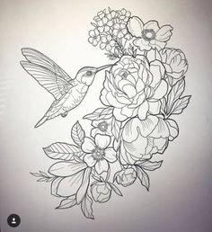 tattoos Colibri flower tattoo How to Build a Simple Potting Bench The potting bench that you are abo Tattoo Outline Drawing, Tattoo Painting, Outline Drawings, Bird Drawings, Flower Outline Tattoo, Tattoo Flowers, Bird And Flower Tattoo, Flower Tattoo Drawings, Diy Tattoo