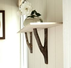 DIY tree branch shelf
