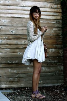 Comfy sundress, animal print sweater, & pop of subtle color in sandals