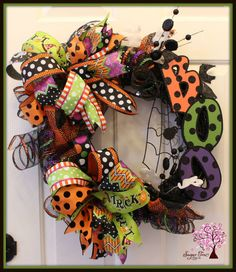 Halloween Wreath Ghost Wreath Boo Wreath Door by SugarTreeDecor