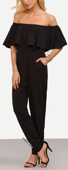 Black Off The Shoulder Pocket Ruffle Jumpsuit