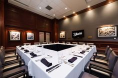The Coach's Room is perfect for a business meeting or conference, client appreciation event, office birthday party, rehearsal dinner, any special occasion or holiday gathering. This room can offer various set ups from u-shape, conference, square or rounds.  The Coach's Room comes equipped with a 50' flat screen Plasma HDTV monitor with VGA connections to any laptop for that perfect presentation along with Wi-Fi. #coachsroom #swflevents #shulasnaples #naples #privatedining