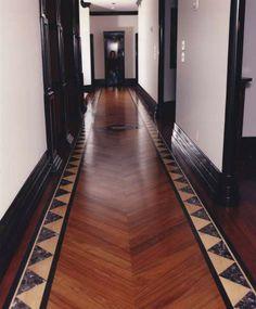 Bordered floor in hallway