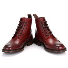 Loake Mens Burgundy Burford Dainite Calf Leather Brogue Boots