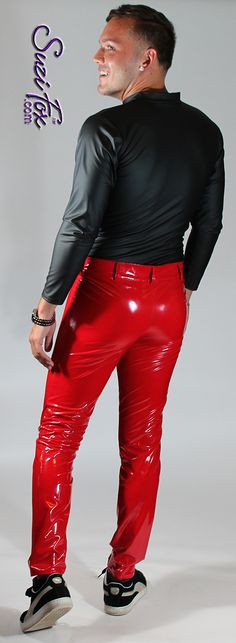 caa3a40216b Mens Jean style Pants in gloss vinyl pvc red by Suzi Fox