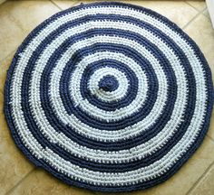 Shades of blue rag rug by ValkinThreads2 on Etsy, $68.50