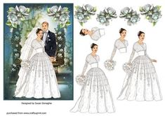 A bride & groom on a floral garden background with rose decoupage.