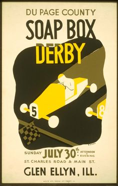 A beautiful stylized WPA poster from the Federal Art Project for a Soap Box Derby near Chicago in 1939
