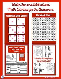Winter Fun and Celebrations  If you are looking for some ideas for February here are a few. With Valentines Day Hundreds Day and Chinese New Year happening all around the same time many different games can be used to celebrate. Check out the link below for a sample of some math activities. If you visit my blog you can learn more about them. I also have a full set of activities available if you want more ideas and games for this month.  Have a super February and lots of fun during your…
