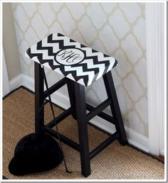 DIY Monogram stool. tutorial and free font with great detailed steps