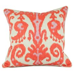 Elise Ikat Pillow in Pink