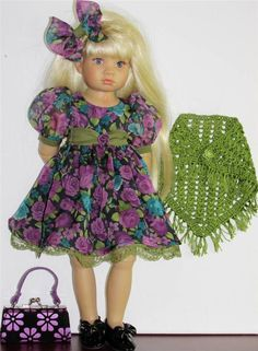 "DRESS,SHAWL & SHOES SET MADE FOR SONJA HARTMANN KIDZ-N-CATS &SIMILAR SIZE18""DOLL"