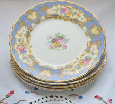Paragon fine bone china England plates/ bread and butter plates/ Pompadour pattern by VieuxCharmes on Etsy