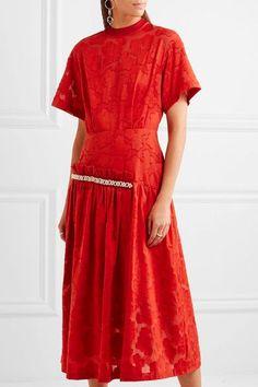 Mother of Pearl - Twilla Embellished Burnout Cotton Midi Dress - Red - UK