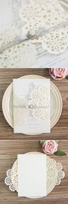 beautiful pearl white and silver laser cut wedding invitations