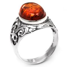Genuine Baltic Honey Amber and Sterling Silver Celtic Oval Ring: Jewelry: Amazon.com