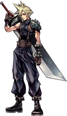 Dissidia Final Fantasy Art by Tetsuya Nomura based on Yoshitaka Amano character designs for Final Fantasy VII - Cloud