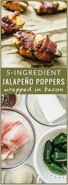 Baked jalapeño poppers wrapped in bacon - You'll love these tasty baked jalapeño poppers! They are stuffed with cream cheese, wrapped in bacon, and brushed with BBQ sauce. It's an easy recipe with only 5 ingredients. - http://savorytooth.com