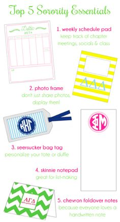 donovandesigns top 5 sorority essentials! Shop online at pkpaper.com & take 30% off your order at pkpaper.com with code HAPPYNEWYEAR thru January 31st!