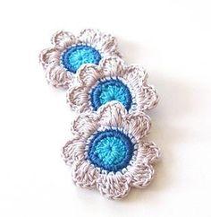 Organic Cotton Crochet Flower Applique Gray Grey White by blitz68, $9.50