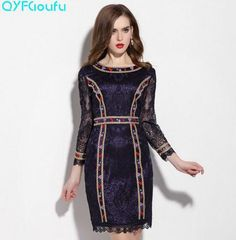 0ae8a6b9a74 Summer Gorgeous Women s Party Sheath Dress Runway Floral Embroidered Purple  Red Plus Size Dress Long Sleeve