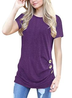 Womens Summer Side Button Short Sleeve Tops T-Shirt Crew Neck Solid Color  Casual Blouse cc9b426e1a8a