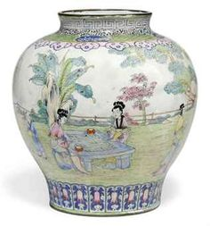 C18th Chinese enamel on copper baluster vase️More Pins Like This At FOSTERGINGER @ Pinterest♓️