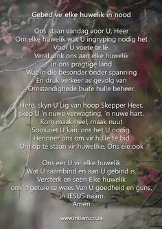Gebed vir huwelike Anniversary Words, Afrikaans, Verses, Prayers, Bible, Christian, Quotes, Amen, Marriage