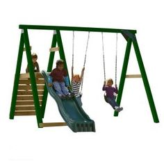 Pine Bluff Wood Complete Play Set With Slide