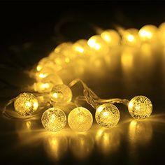 InnooTech Lichterkette 40er LED 6 Meter Globe kristallkugeln mit Batteriehalter Innen- und Außenbereich Beleuchtung Kugel für Party, Deko, Feiern, Garten, Terrasse, Hof, Haus, Weihnachtsbaum, Zimmer Warmweiß