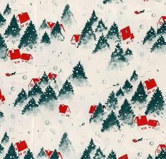 Christmas wrapping vintage paper pattern design by Subjects Chosen at Random