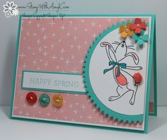 February 9, 2015 Stamp With Amy K:  Stampin' Up! Dancing Happy Easter Bunny,  Crazy About You stamp sets