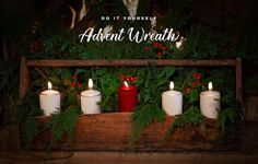 Use an old wooden toolbox to hold your candles with fresh greenery & berries. DIY Advent Wreath — Resource the Church Church Candles, Advent Candles, Christmas Stage Design, Old Tool Boxes, Christmas Crafts, Christmas 2019, Christmas Trees, Xmas Decorations, Greenery