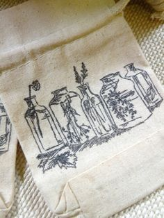Set Of Three Cotton Muslin Gift Bags  Herb Bottles  by aunaturelle, $15.00